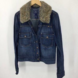 Lucky Brand Tiffany Denim Jean Jacket faux sherpa